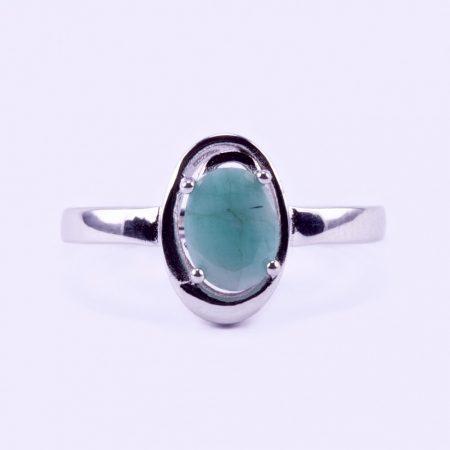 """Ezüst smaragd köves gyűrű """"6x8"""""""