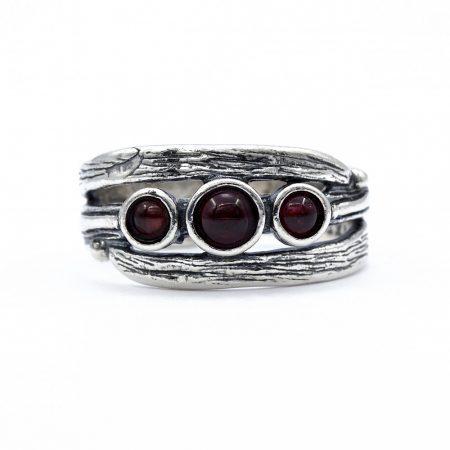 """Izraeli ezüst gránát köves gyűrű """"3 kis kerek"""""""