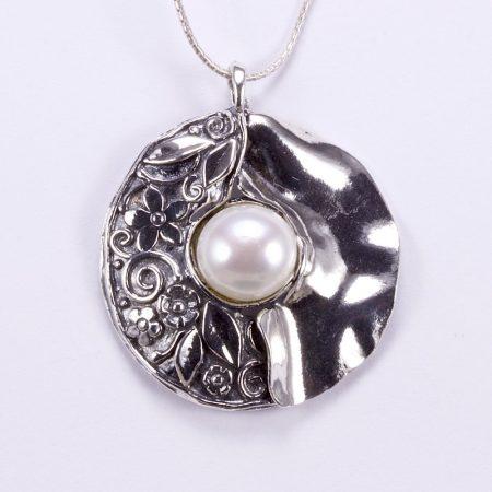 """Izraeli ezüst gyöngy medál lánccal """"virág"""""""
