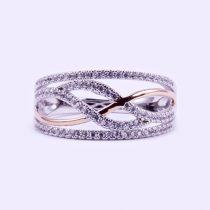"""Ezüst rosé aranyozott cirkónia köves gyűrű """"11"""""""