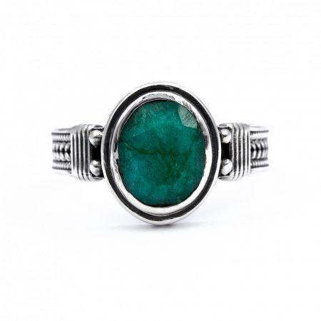 """Ezüst smaragd köves gyűrű """"7x9"""""""