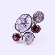Ezüst tűrutil és gránát köves gyűrű