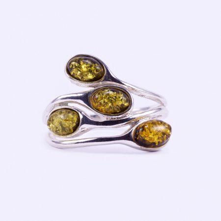 """Ezüst zöld borostyán gyűrű """"4"""""""