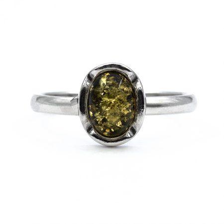"""Ezüst zöld borostyán köves gyűrű """"6x8"""""""