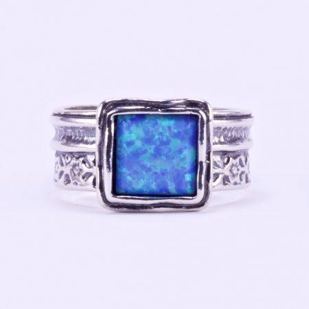 """Izraeli ezüst opál köves gyűrű """"kis.négyzet"""""""