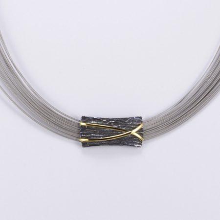 Egyedi ezüst antikolt aranyozott félmerev lánc