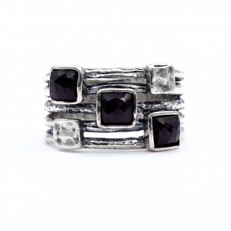 """Izraeli ezüst ónix köves gyűrű """"átlós.négyzet"""""""