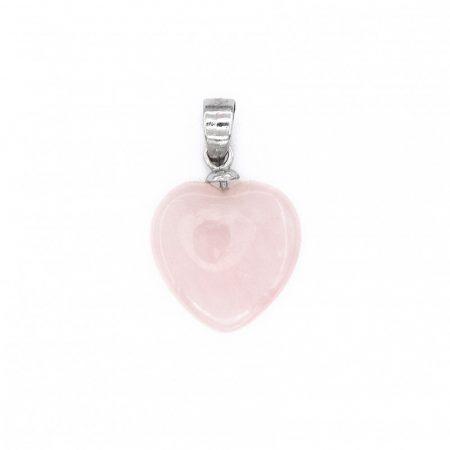 """Ezüst rózsakvarc szív medál """"11x19"""""""
