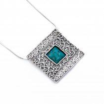 Izraeli ezüst türkiz medál lánccal
