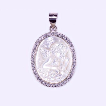 Ezüst gyöngyház angyalka medál körben cirkónia kövekkel