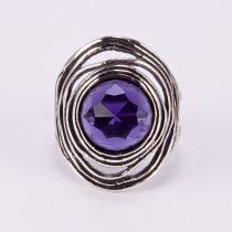 """Izraeli ezüst csiszolt ametiszt köves gyűrű """"nagy kerek"""""""