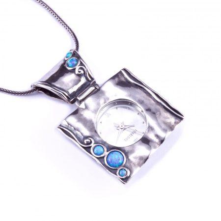 Izraeli ezüst opál köves óra medál hosszú lánccal