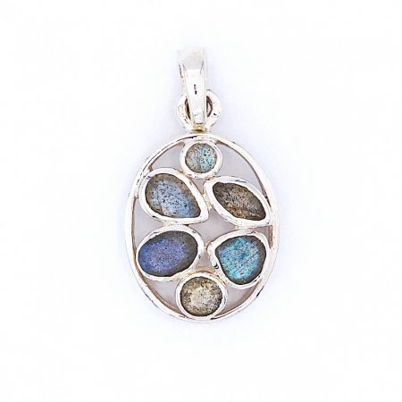 Ezüst medál labradorit kövekkel