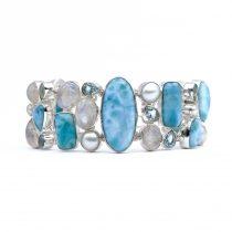 Egyedi ezüst larimár, holdkő, gyöngy és kék topáz köves karlánc