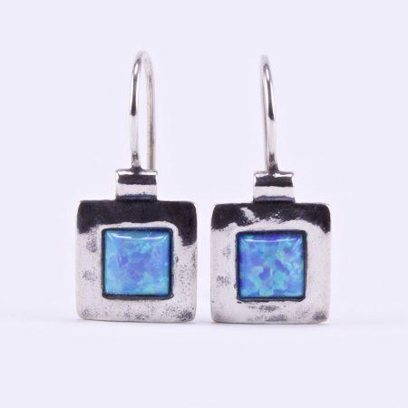 """Izraeli ezüst opál köves fülbevaló """"négyzet.6x6"""""""