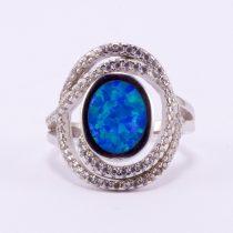 """Ezüst kék opál köves gyűrű cirkónia kövekkel """"két soros"""""""