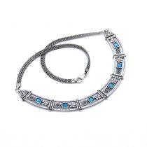 """Izraeli ezüst lánc opál kövekkel """"négyzet"""""""