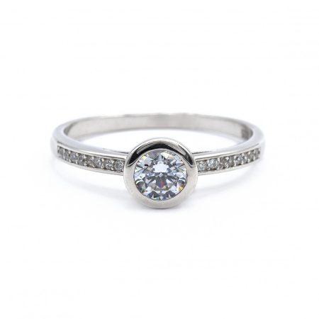 """Ezüst cirkónai köves gyűrű """"button+sín"""""""