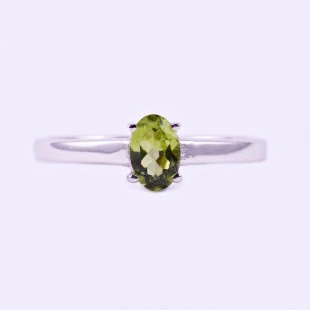 """Ezüst olivin (peridot) köves gyűrű """"4x6"""""""