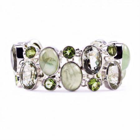 """Egyedi ezüst prehnit, zöld ametiszt és olivin (peridot) köves karlánc """"23"""""""