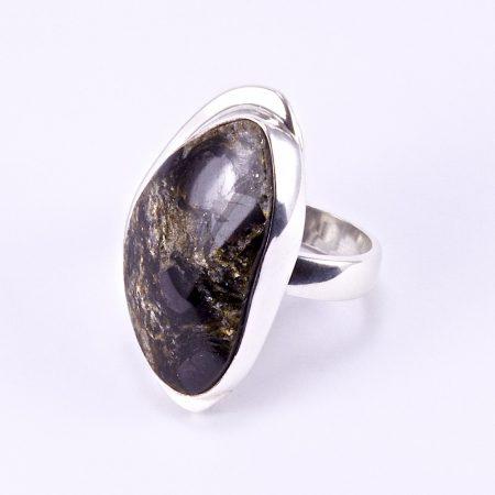 Ezüst szerpentinit köves gyűrű