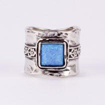 """Izraeli ezüst csőgyűrű opállal """"álló négyzet"""""""