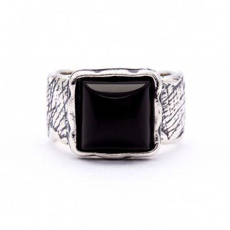 """Izraeli ezüst ónix köves gyűrű """"10x10"""""""