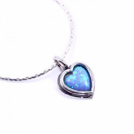 """Izraeli ezüst opál köves medál lánccal """"pici.szív"""""""