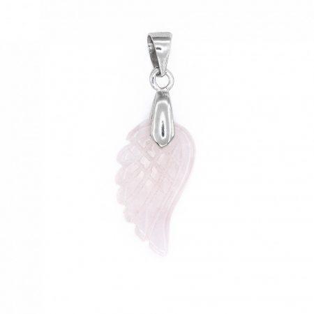 Ezüst rózsakvarc angyalszárny medál