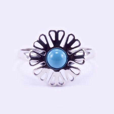 """Ezüst türkiz köves gyűrű """"virág"""""""