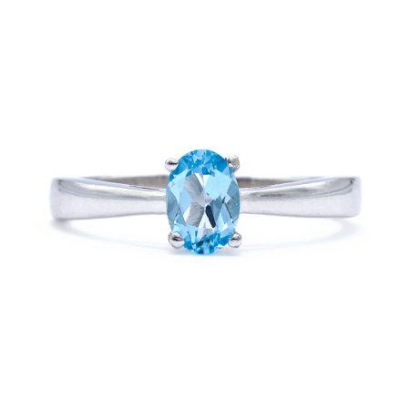 """Ezüst kék topáz köves gyűrű """"új5x7"""""""
