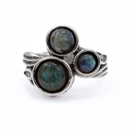 """Izraeli ezüst labradorit gyűrű """"háromszög"""""""