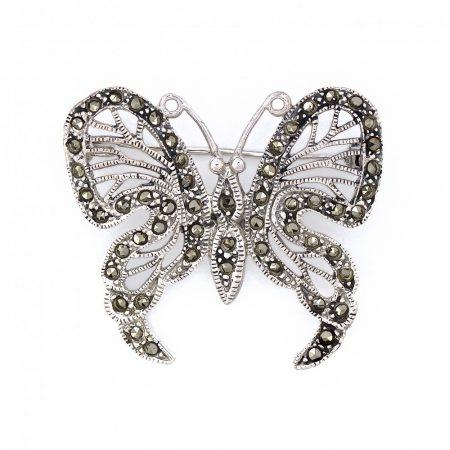 """Ezüst markazit köves kitűző """"nagy.pillangó"""""""