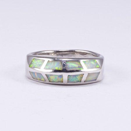 Ezüst fehér opál gyűrű