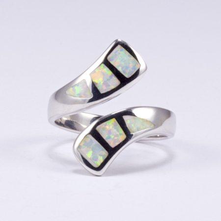 Ezüst fehér opál gyűrű állítható