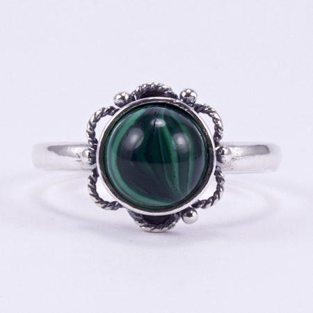 """Ezüst malachit gyűrű """"virág"""""""