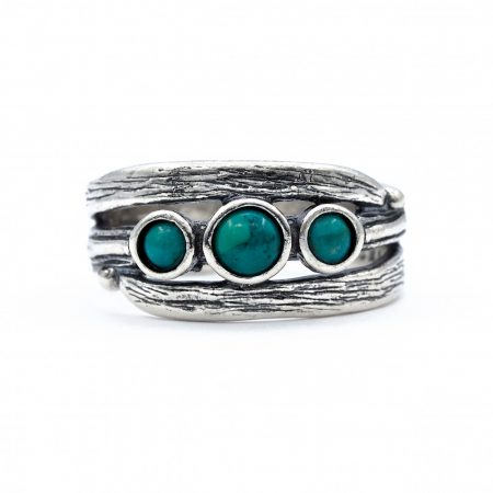 """Izraeli ezüst türkiz köves gyűrű """"3 kicsi kerek"""""""