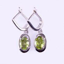 """Ezüst peridot (olivin) köves fülbevaló """"6x8"""""""