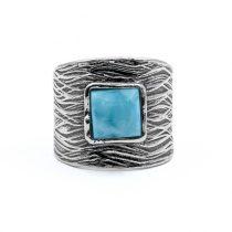 Izraeli ezüst larimár köves gyűrű