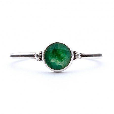 """Ezüst smaragd köves gyűrű """"sima"""""""