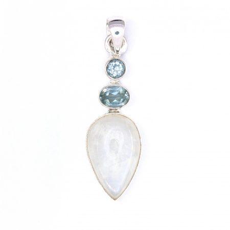 Ezüst holdkő és kék topáz köves medál