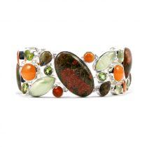 Egyedi ezüst unakit, prehnit, karneol és olivin (peridot) köves karlánc