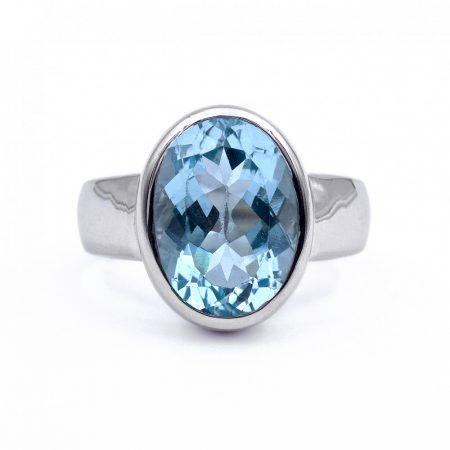 """Ezüst kék topáz köves gyűrű """"10x14"""""""