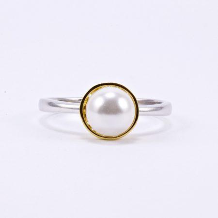 Ezüst aranyozott gyöngy gyűrű