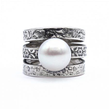 Izraeli ezüst gyűrű gyönggyel