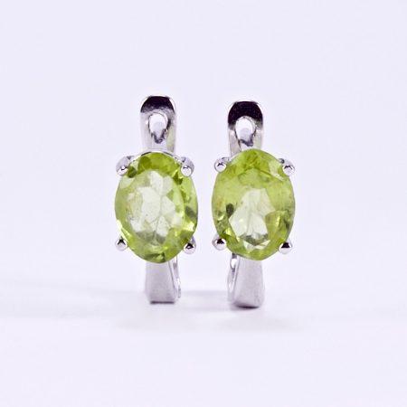 """Ezüst peridot (olivin) köves fülbevaló """"6x7,5"""""""