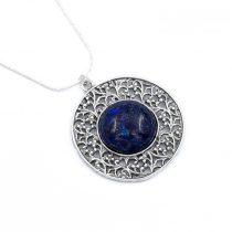 Izraeli ezüst lápisz lazuli köves medál lánccal