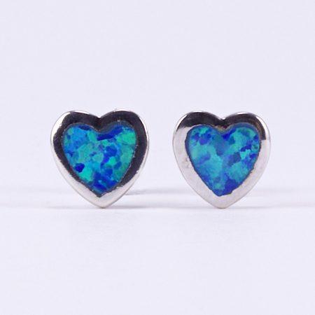 """Ezüst kék opál fülbevaló """"kicsi szív"""""""