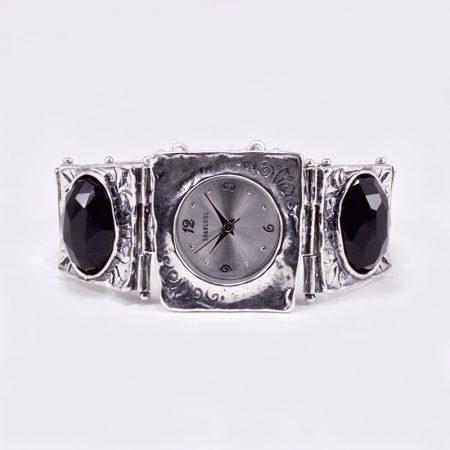 Shablool izraeli ezüst óra csiszolt ónix kövekkel