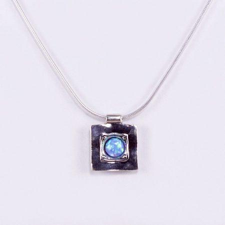 """Izraeli ezüst opál lánc """"négyzetben-kerek"""""""